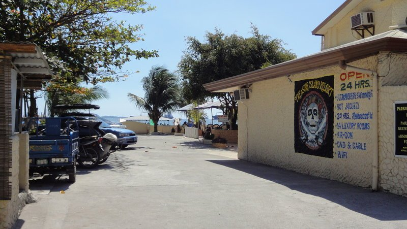 The entrance to Treasure Island Resort from Baloy Beach Road. Ample, Secure Parking!