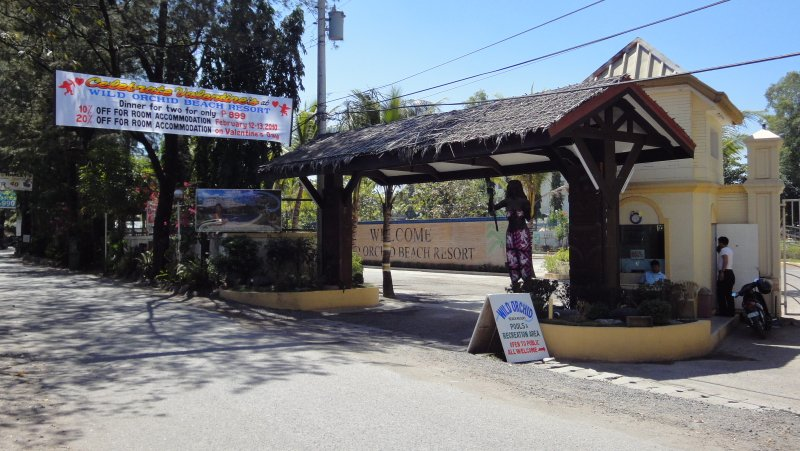 The entry to the Wild Orchid Resort on Baloy Beach Road